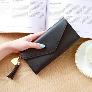 Handbags - Tassel Heart Charm Black Wallet